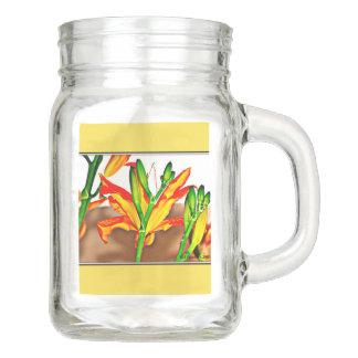 Tiger Lily Mason Jar with Handle