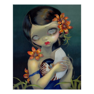 Tiger Lily, Tiger Nautilus ART PRINT big eye fairy
