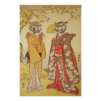 Tiger Man and Wife Japanese Print Couple