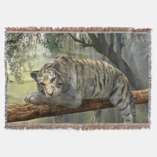 Tiger On a Branch Throw Blanket