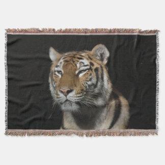 Tiger On Black Throw Blanket