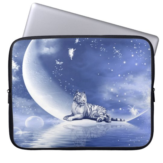 Tiger on the moon laptop sleeve
