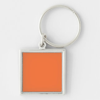 Tiger Orange Personalized Trend Color Background Silver-Colored Square Key Ring
