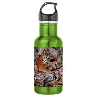 Tiger painting-tiger family-tiger cubs-tiger art 532 ml water bottle