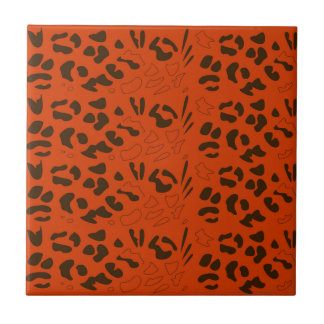Tiger pattern brown ethno ceramic tile