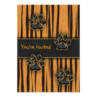Tiger Paw Child Birthday Party 13 Cm X 18 Cm Invitation Card