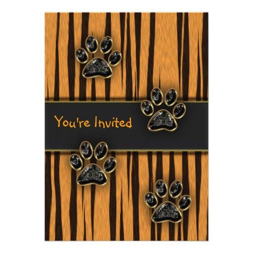 Tiger Paw Child Birthday Party Custom Invite