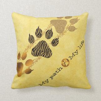 Tiger Paws My Path My Life Throw Pillow