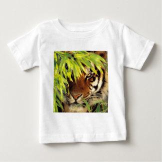 Tiger Peers Behind A Leaf Baby T-Shirt