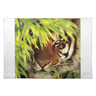Tiger Peers Behind A Leaf Placemat