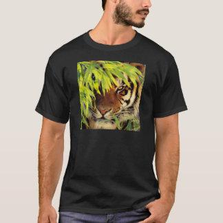 Tiger Peers Behind A Leaf T-Shirt