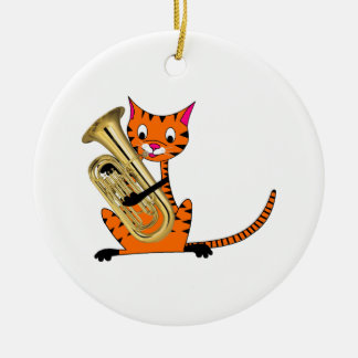 Tiger Playing the Euphonium Christmas Tree Ornaments