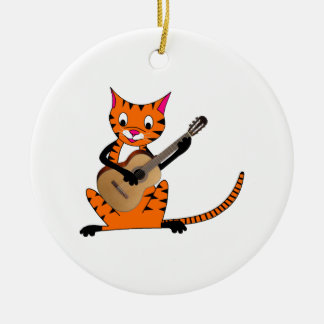 Tiger Playing the Guitar Christmas Tree Ornaments
