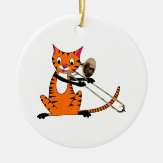Tiger Playing the Trombone Ornaments