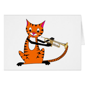 Tiger Playing the Trumpet Greeting Card