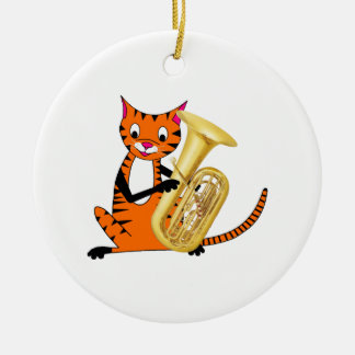 Tiger Playing the Tuba Ornament