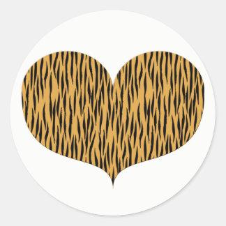 Tiger Print Heart   Valentine's Day Classic Round Sticker