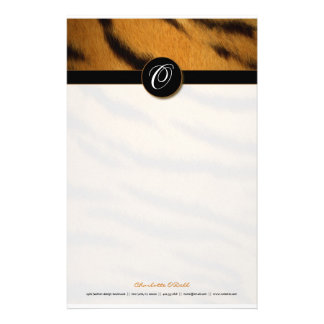 tiger print; monogram stationery
