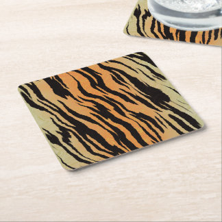 Tiger Print Square Paper Coaster