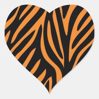 Tiger Print Heart Stickers