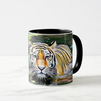 Tiger Reflection Digital Art Coffee Mug