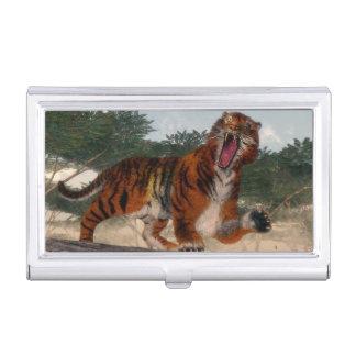 Tiger roaring - 3D render Business Card Holders