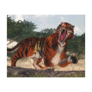 Tiger roaring - 3D render Canvas Print