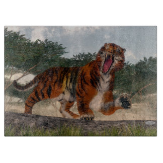Tiger roaring - 3D render Cutting Board
