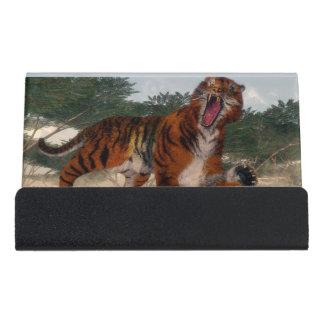 Tiger roaring - 3D render Desk Business Card Holder