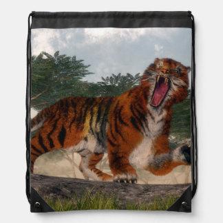 Tiger roaring - 3D render Drawstring Bag