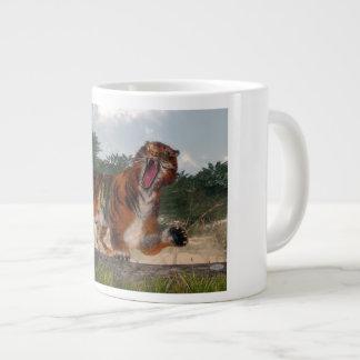 Tiger roaring - 3D render Large Coffee Mug