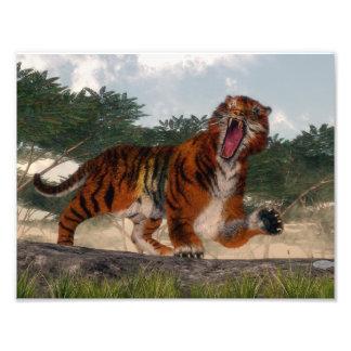 Tiger roaring - 3D render Photo Print