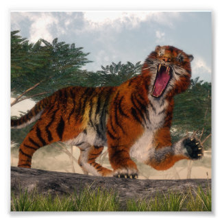 Tiger roaring - 3D render Photo Print