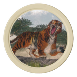 Tiger roaring - 3D render Poker Chips