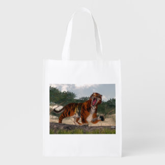 Tiger roaring - 3D render Reusable Grocery Bag