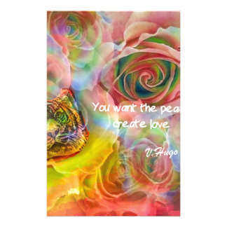 Tiger, roses and good message personalised stationery