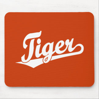 Tiger Script Logo in White Mouse Pad