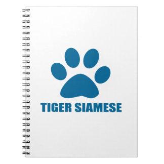 TIGER SIAMESE CAT DESIGNS NOTEBOOKS