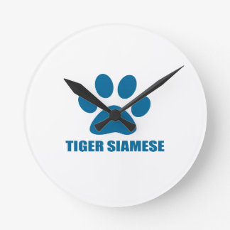 TIGER SIAMESE CAT DESIGNS ROUND CLOCK
