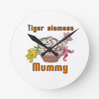 Tiger siamese Cat Mom Wall Clock