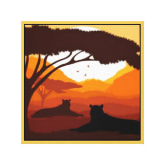 Tiger Silhouette Gallery Wrap Canvas