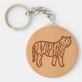 Tiger silhouette engraved on wood design basic round button key ring
