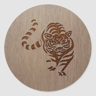 Tiger silhouette engraved on wood design round sticker
