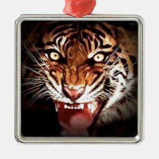Tiger Silver-Colored Square Decoration