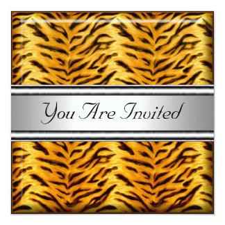"Tiger Skin Birthday Party Invitation 5.25"" Square Invitation Card"
