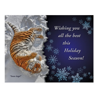 Tiger Snow Angel Holiday Post Card