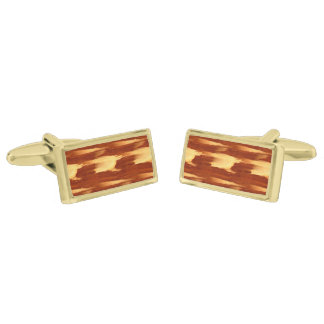Tiger Stripe Bamboo Wood Grain Look Gold Finish Cuff Links
