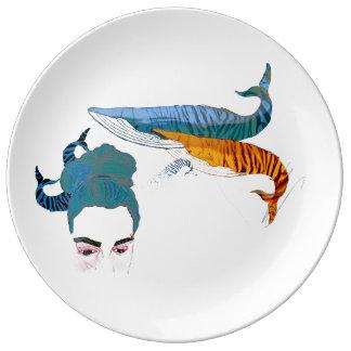 Tiger striped whale dreams plate