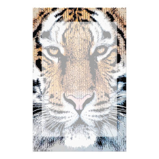 Tiger stripes Portrait in Graphic Press Style Personalised Stationery