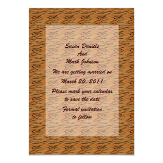 "Tiger Stripes Wedding Save The Date 5"" X 7"" Invitation Card"